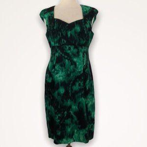 LAURA Green/Black Ikat Pattern Dress Size 14